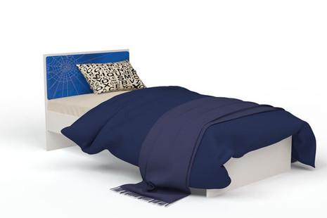 Кровать  с кож. вставкой Человек паук