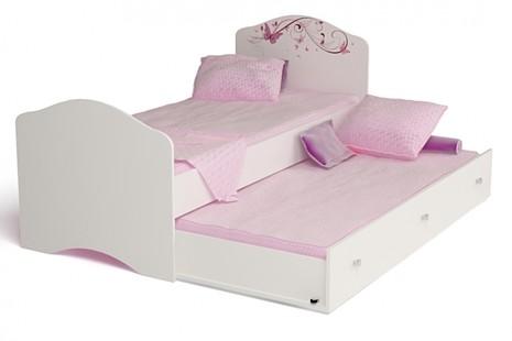 Кровать классика 190 Фея с рисунок на изножье без страз( с матрасом 15*190*90 и перегородкой, без ящика)